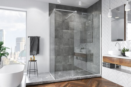 Shower enclosure without shower tray